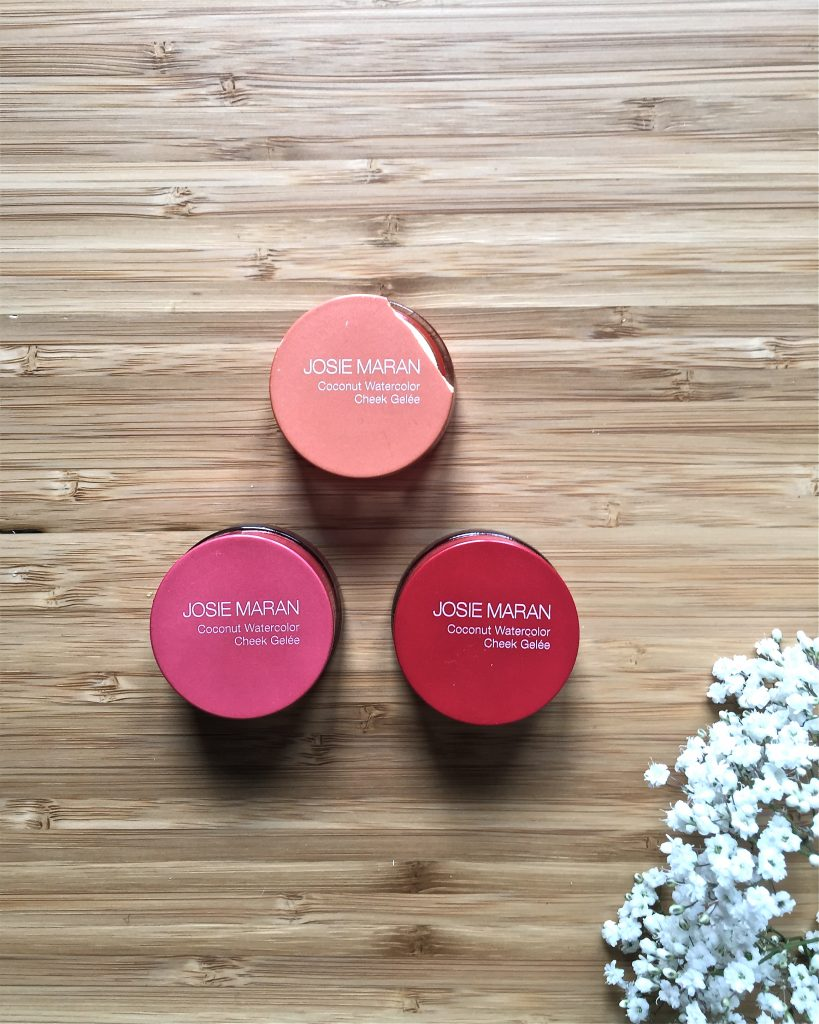josie maran coconut watercolor cheek gelée coral crush pink escape getaway red