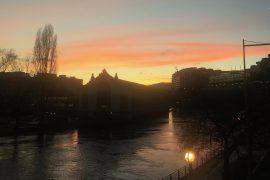 Lumière d'hiver à Genève pont coulouvrenière