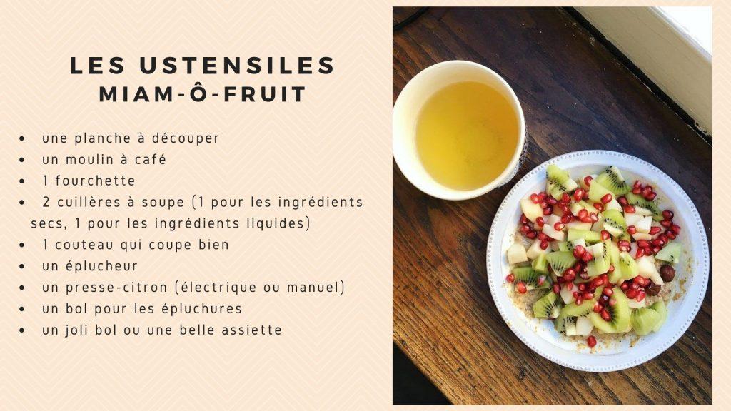 miam o fruits recette ustensiles cuisine